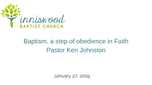 Baptism, a step of obedience in Faith.